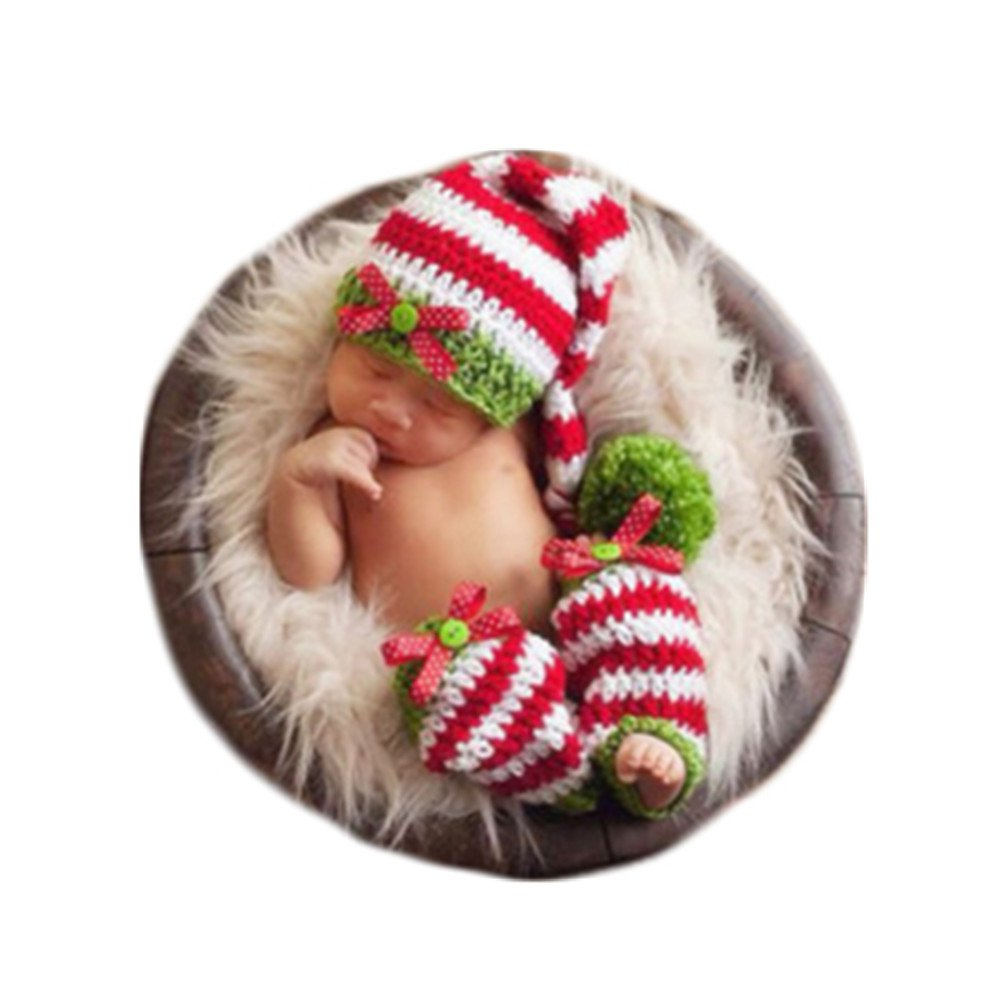 Amazon com christmas newborn baby photo shoot props outfits crochet knit clothes infant boy girl christmas costume hat leggings toys games