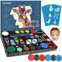 Face Paint Kit for Kids and Adults with 16 Vibrant Colors, 4 UV Fluorescent Dyes, 2 Loose Glitter Shades, 4 Blending Sponges, 2 Applicators, 3 Brushes for Parties and Cosplay Costumes