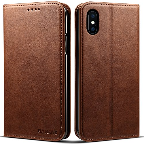 e X/XS, 5.8 inches, PU Leather Wallet Phone Case Iphone Case with Card Holder Kickstand Protective Flip Cover Brown Cover ()