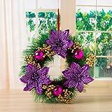 REYO Christmas Party Leaf Door Wall Decoration Window Ornament Garland Wreath (purple, Diameter :30cm/12'')