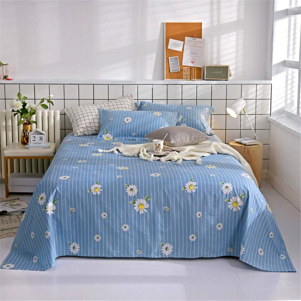 Single Piece of Cotton Sheets Printed Cartoon Cotton Non-Slip Twill Quilt Single Single Student Dormitory can be Customized Small Daisy Blue 230250cm by iangbaoyo