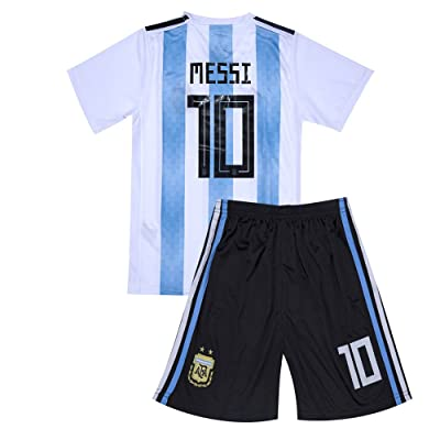 2018 Argentina National #10 Messi Home Youth/Kids Soccer Jersey and Shorts White/Blue