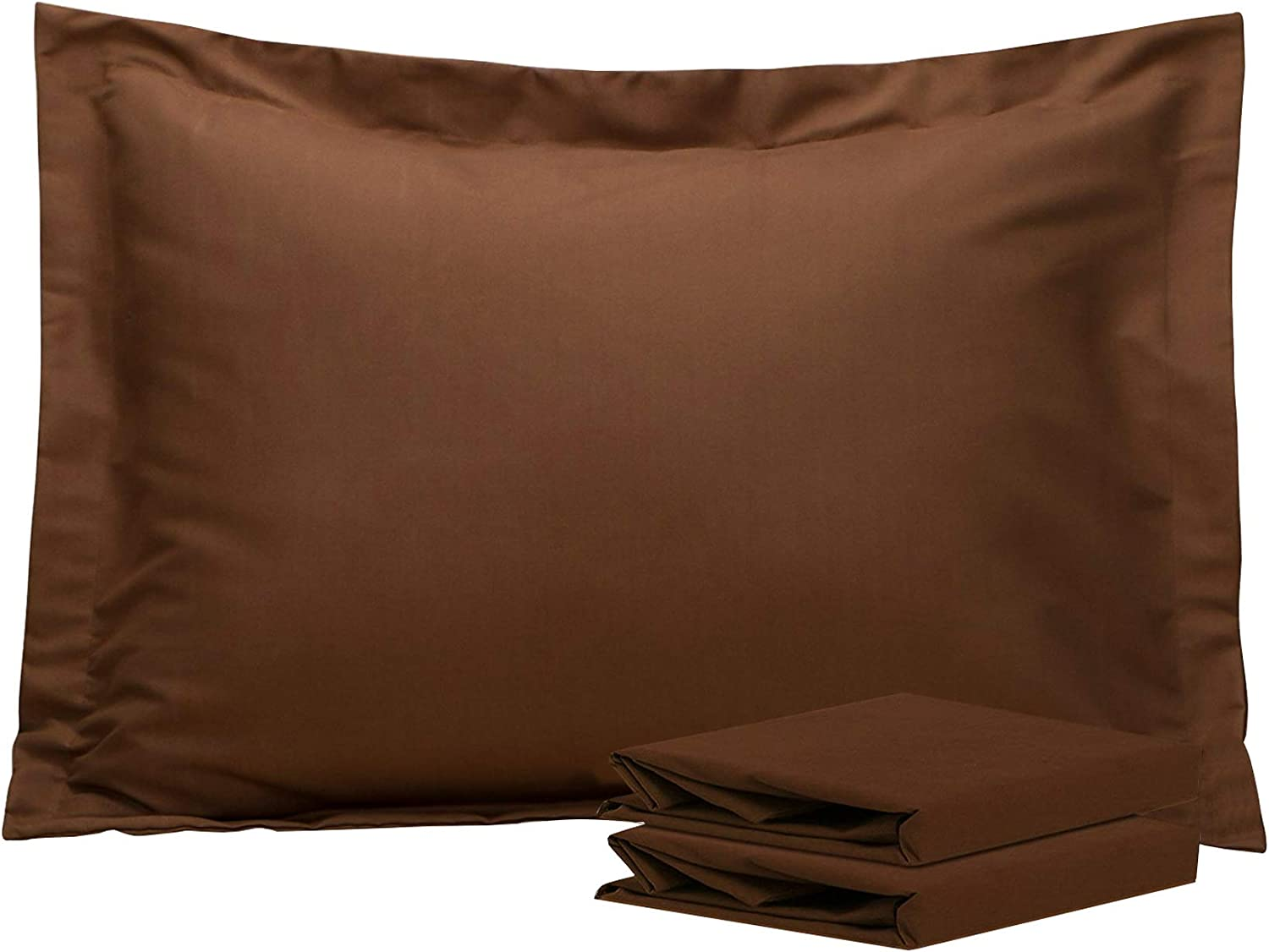 NTBAY Standard Pillow Shams, Set of 2, 100% Brushed Microfiber, Soft and Cozy, Wrinkle, Fade, Stain Resistant, Standard, Brown