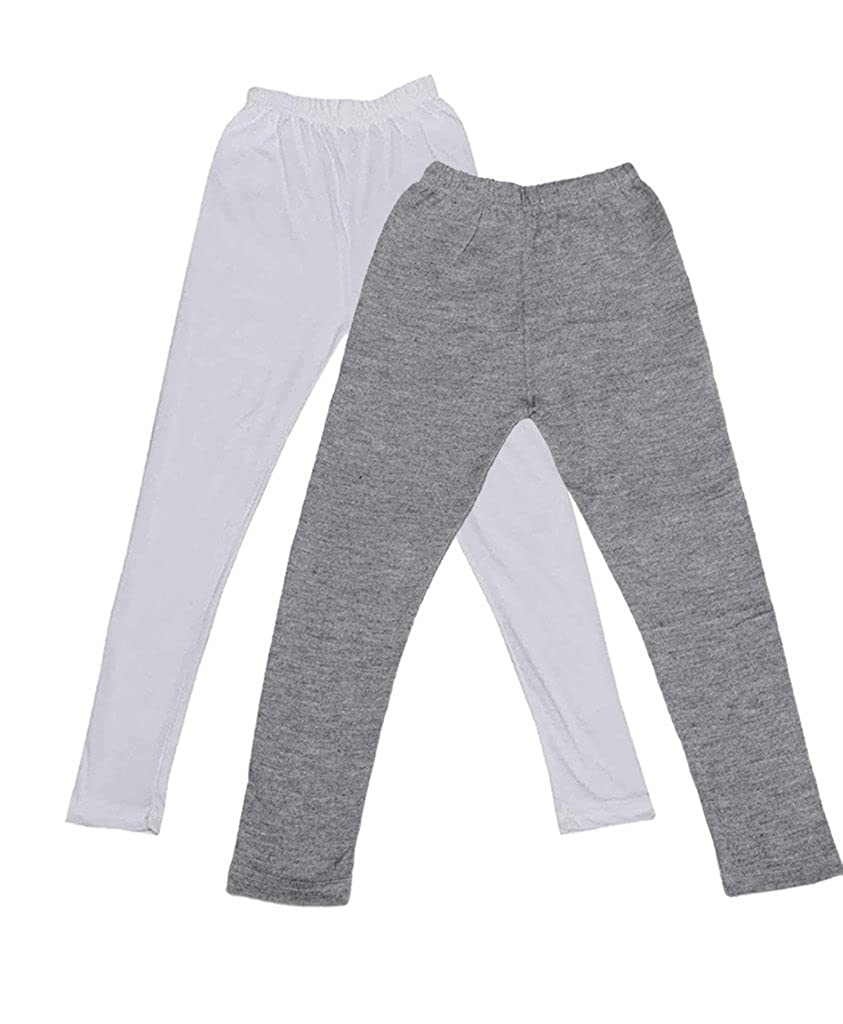 /_White::Black Indistar Girls Super Soft Ankle Length Cotton Lycra Leggings Pack of 2