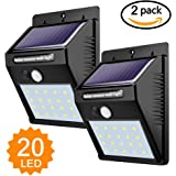 Foco Solar,Luces Solares 20 LED,1200mAh Lámparas Solares de Pared Impermeable,Luz