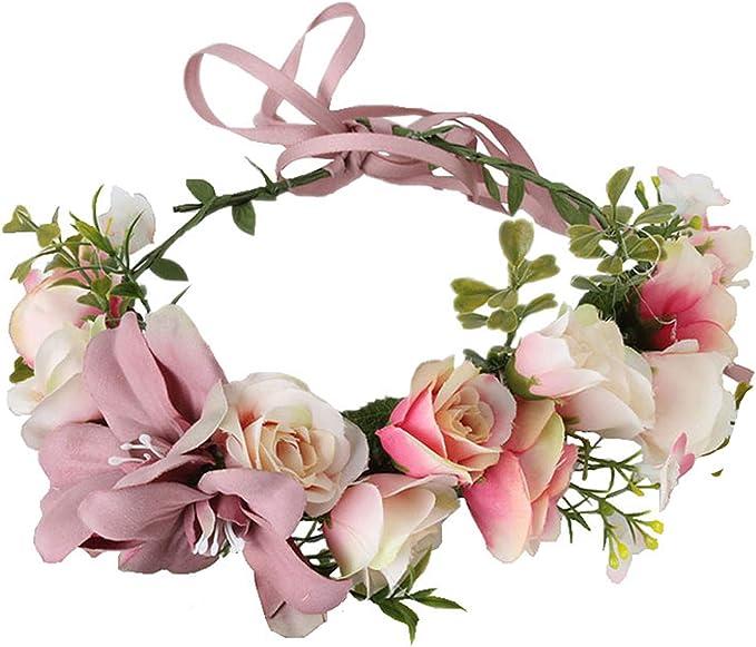 ParZ Rose Flor de Encaje Diademas Cabello Guirnalda de Novia para Accesorios de fotograf/ía Boda Fiesta de Navidad
