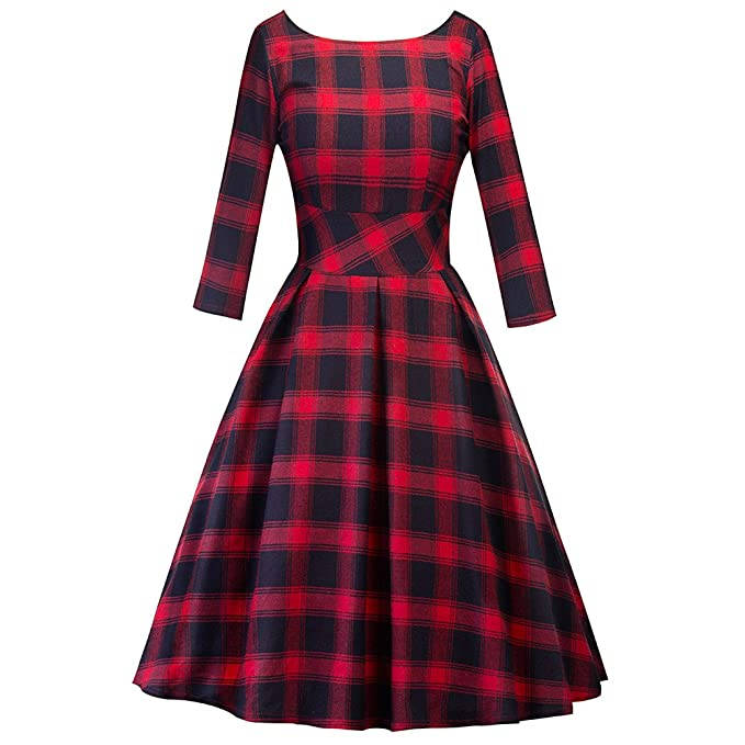 iBaste Vestido de Moda Estilo Vintage Hepburn Tela Escocesa clásica de Inglaterra Patrón geométrico 1/