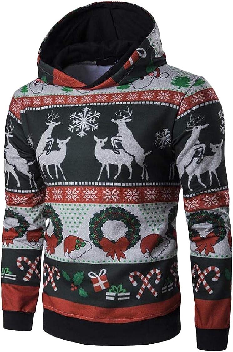 FieerMen Long Sleeve Print Hooded Christmas Leisure Pullover Sweatshirts Top