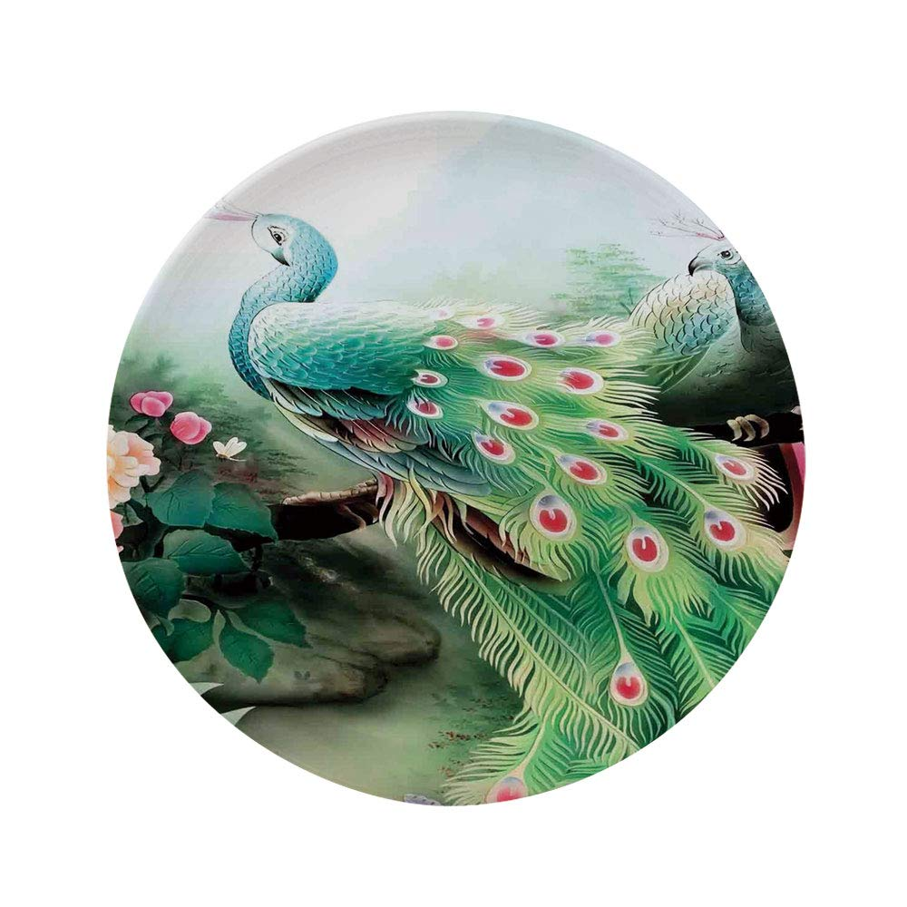 """Ylljy00 Peacock Decor 8"""" Dinner Plate,Peacock in Summer Flower Garden Glass Color Painting Effect Nature Art Print Ceramic Decorative Plates,Dining Table Tabletop Home Decor,Green Fuchsia"""