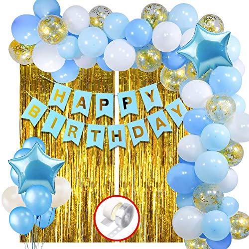 Party Propz Blue Happy Birthday Decoration Items Kit Combo Set Birthday Banner Golden Foil Curtain Metallic Confetti Balloons With Hand Balloon Pump And Glue Dot – 60 pieces