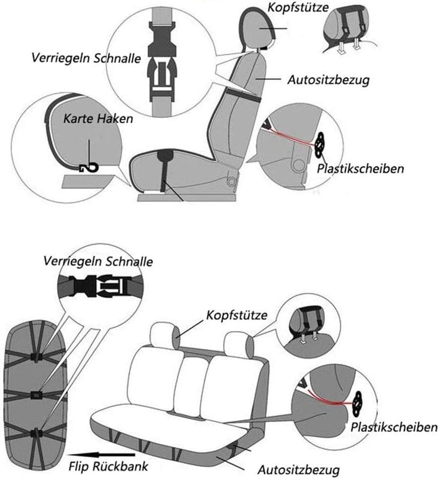 coussins de si/ège GM /à 5 places /à lavant et /à larri/ère Couverture de siege de voiture Housse de si/ège de voiture en cuir Color : C avec repose-t/ête et oreiller lombaire