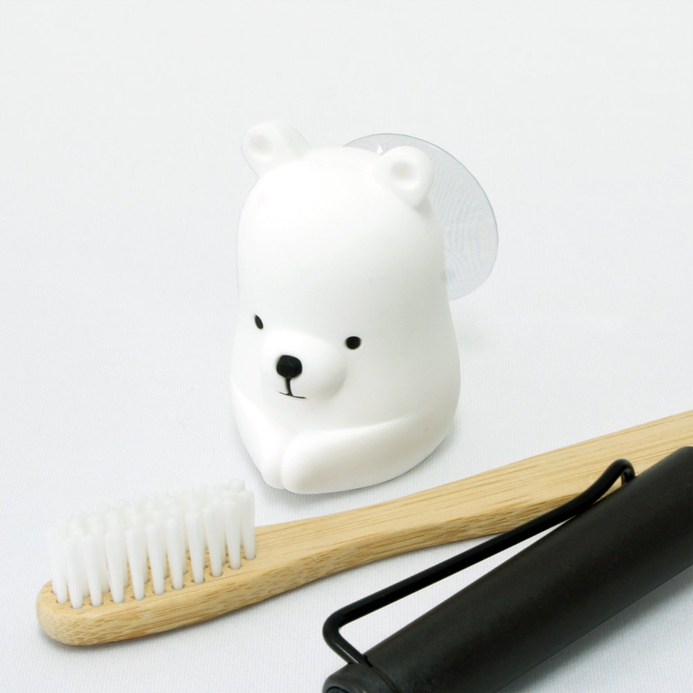 MIKEEP Chikachika Toothbrush Holder Cute Animal Design Platinum Silicon White Bear