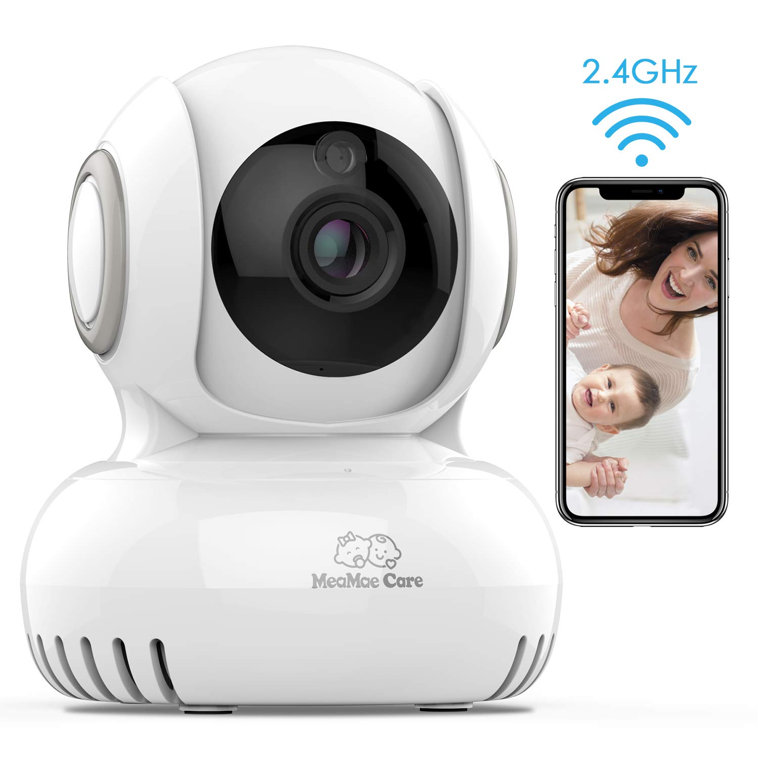 MeaMae Care WiFi Baby Monitor with Camera and 2-Way Audio-Lullabies Player, Motion&Temperature Sensor, WiFi Home Security IP Camera with Night Vision, Pan/Title/Zoom for Pet/Baby/Elder