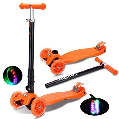 Nclon Niños Patinetes 3 Ruedas Luces leds,Scooter Truco Luminosas Patinete para niños 3-9 años Capacidad de carga 90 kg-naranja