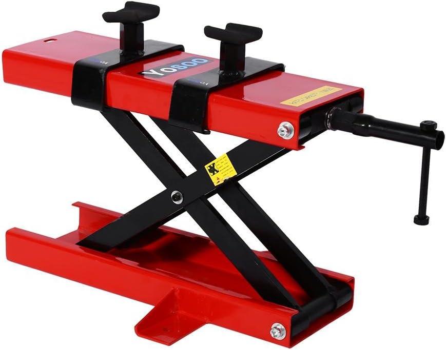 Elevador de tijera para moto, de acero al carbono, máxima carga 500 kg y altura regulable, dimensiones de la plataforma 45 x 15 cm, negro y rojo: Amazon.es: Coche y moto