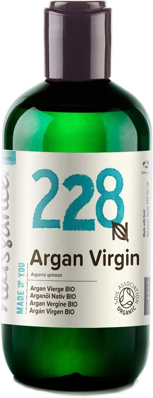 Naissance Aceite Vegetal de Argán de Marruecos BIO n. º 228-250ml - Puro, natural, vegano, certificado ecológico, sin hexano y no OGM - Hidratación natural para el cabello.