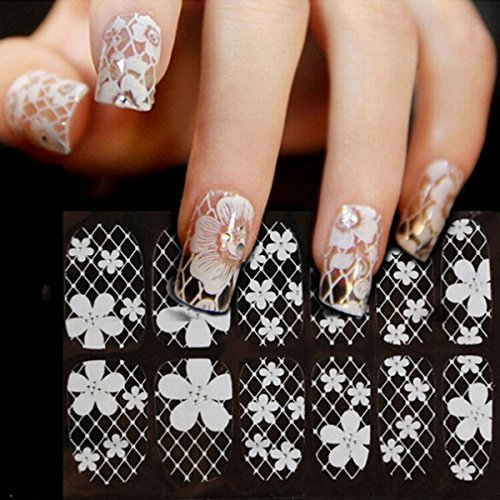 (10 Different Stlye)3D Nail Art Tips Stickers False Nail ...