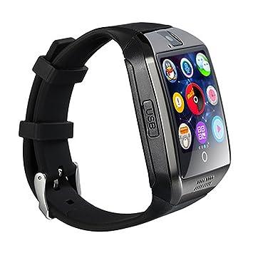 ZZG Reloj inteligente Bluetooth con cámara facebook whatsapp Twitter Sync Soporte SMS Tarjeta SIM TF para iOS teléfono android (Color : Negro): Amazon.es: ...