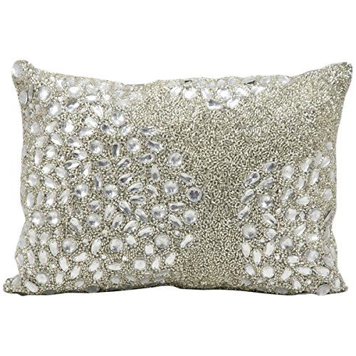 Mina Victory Luminescence Fully Beaded Silver Throw Pillow (10-inch x 14-inch) by Nourison by Nourison
