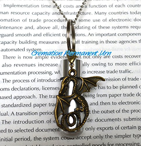 (Cremation Permanent Urn Dragon Cremation Necklace, Ashes Holder, Dragon Memorial Necklace,Bronze Dragon Cremation Locket,memorial necklace,Urn pendant ,cremains jewelry)