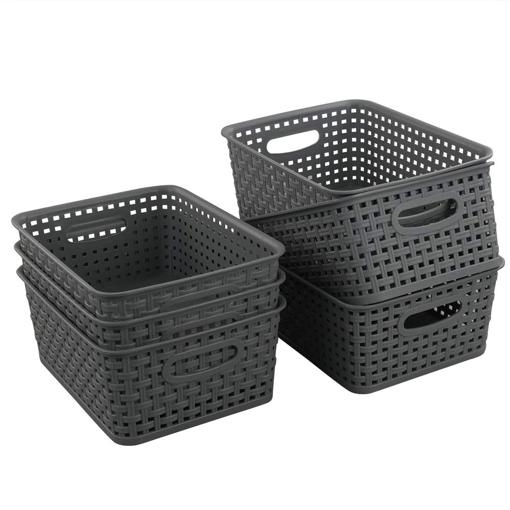 Teyyvn Plastic Storage Basket, 10.03'' x 7.59'' x 4.09'', Pack of 6, Gray by Teyyvn
