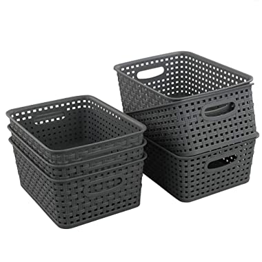 Teyyvn Plastic Storage Basket, 10.03  x 7.59  x 4.09 , Pack of 6, Gray