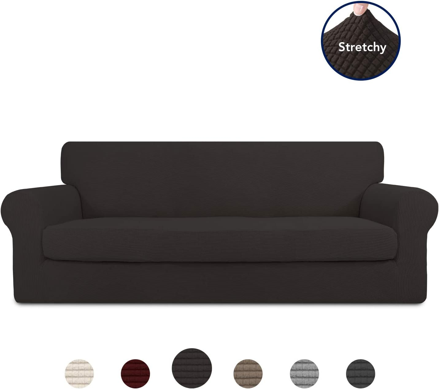 PureFit 2 Pieces Stretch Slipcover for 3 Cushion Couch – Spandex Jacquard Non-Slip Soft Fitted Sofa Couch Cover, Washable Furniture Protector with Anti-Skid Elastic Bottom for Kids (Sofa, Chocolate)