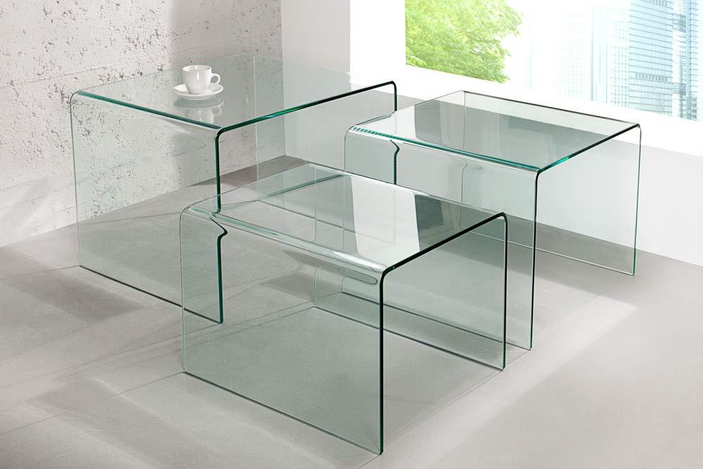 Invicta Interior 3er Set Glas Couchtisch Ghost 60cm Beistelltische