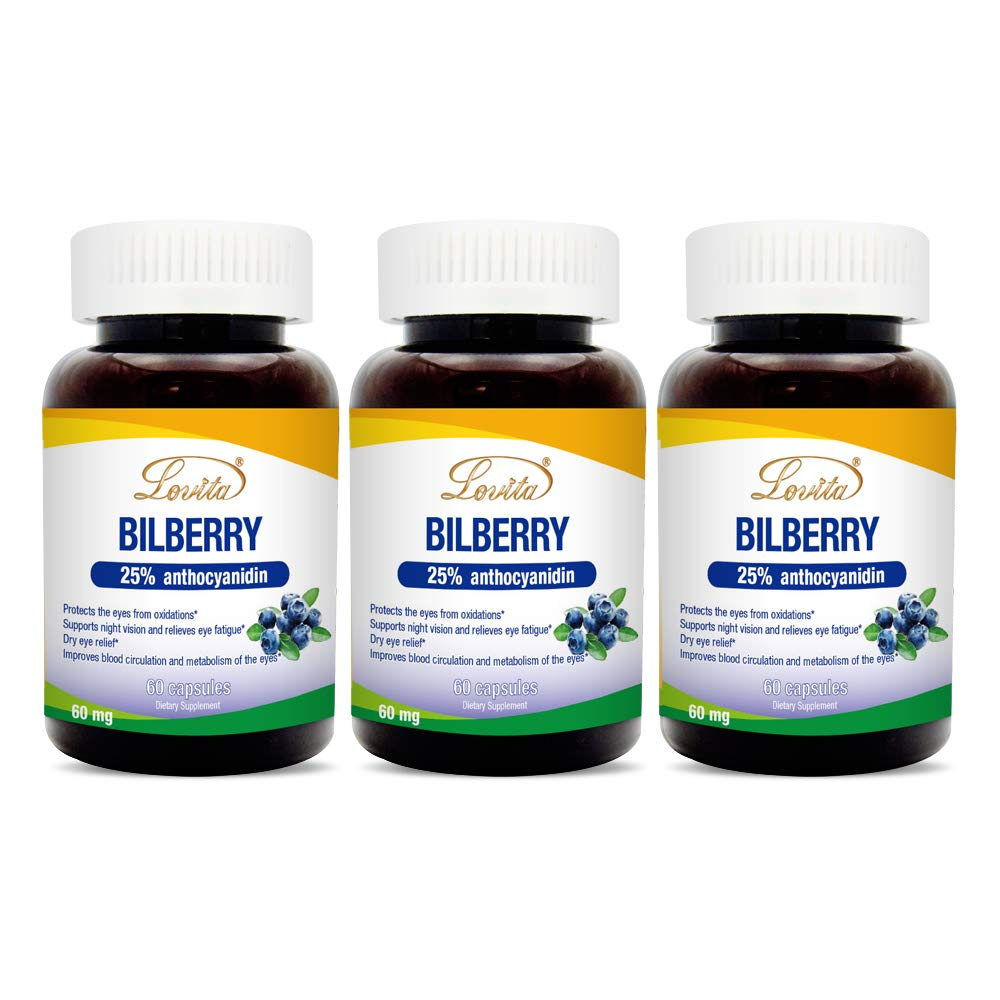 Lovita Bilberry Extract 6000mg, 100:1 Extract, 25% anthocyanodins, 60 Capsules (Pack of 3)