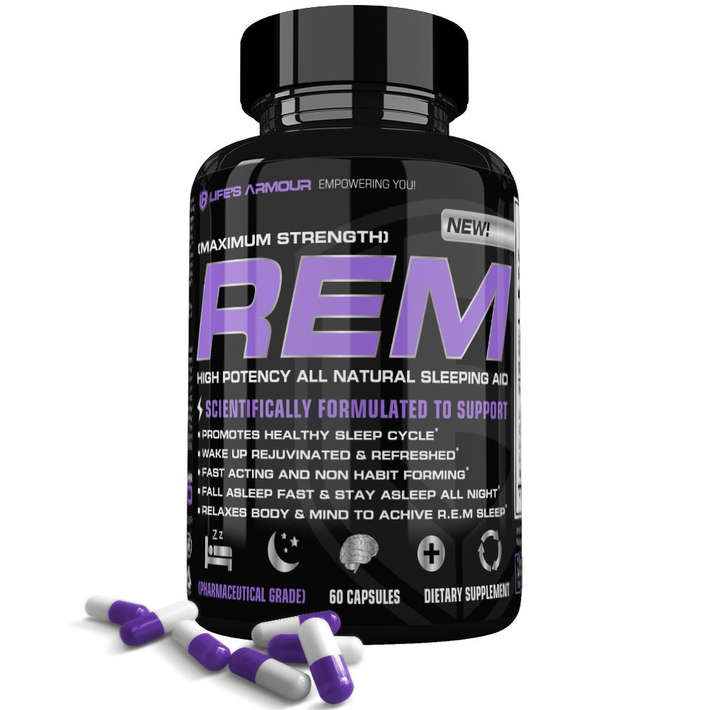 Sleep Aid by Life's Armour R.E.M| Extra Strength All Natural Sleep Aid & Sleeping Pills Supplement with Melatonin, Valerian, & 5-HTP, to Help Relieve Insomnia, Non Habit Forming natural sleep aids NATURAL SLEEP AIDS – Choosing the Right Product for a Restful Sleep 61KB6O5UXgL