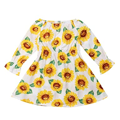 e1d50f1a286f Amazon.com  Infant Baby Toddler Girls Princess Dress Fall Clothes Kids Long  Sleeve Sunflower Casual Dresses 1-4 Years Old  Clothing