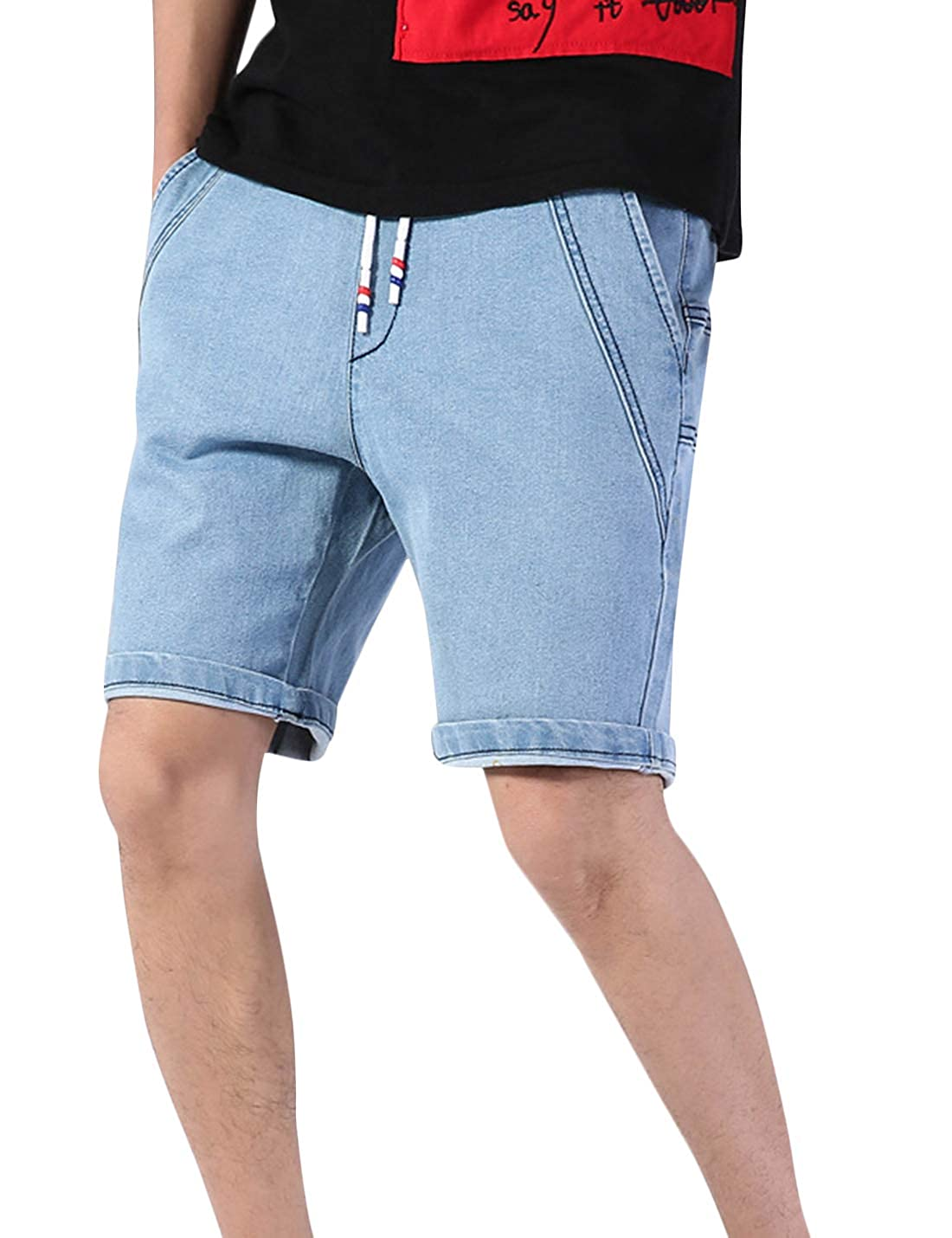8aadeae888f Uaneo Men s Casual Elastic Waist Denim Shorts Jeans with Multi Pockets at  Amazon Men s Clothing store
