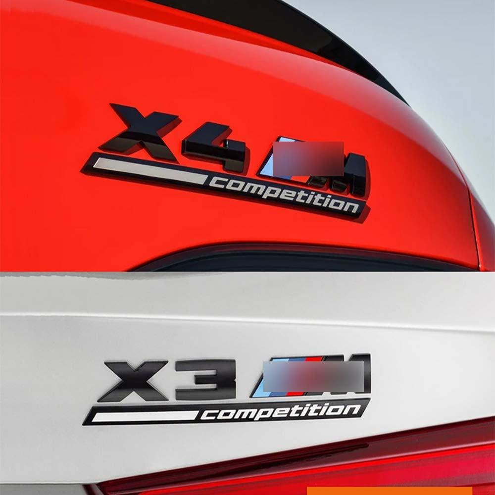 Distintivo per Bagagliaio Posteriore ZGYAQOO ABS Car M M-Tech Power Sport Distintivo DellEmblema Adesivo per Parafango per BM-W X4M X 4M Competition