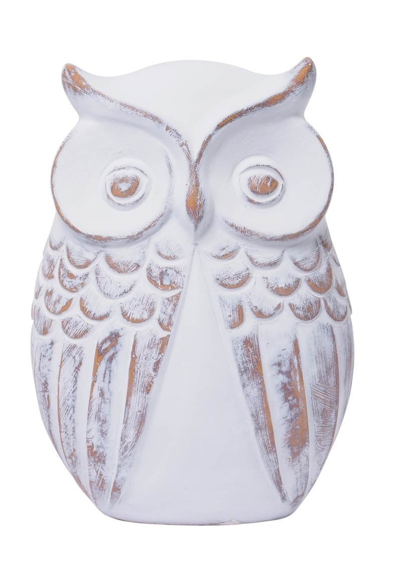Hosley 7'' High, Distressed White Owl Figurine Large. Ideal tabletop, shelf mantle Gift for Wedding, Home, Party Favor, Spa, Reiki, Meditation, Bathroom Settings. P1