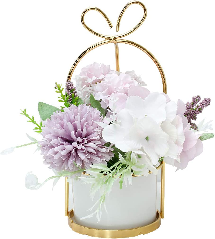 Veryhome Artificial Flowers Hydrangea with Ceramic Vase Silk Chrysanthemum Mini Potted Fake Flowers Hanging Potted Plants for Wedding Home Office Decoration Pack of One (Purple)