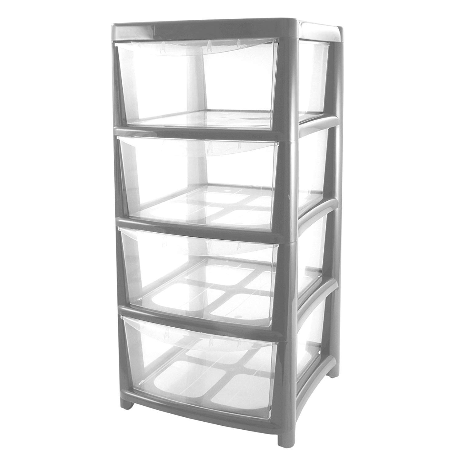 Drawer Tower Plastic 4 Tier Silver Thumbs Up