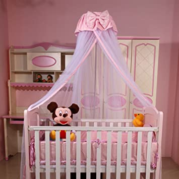 Baby Princess Canopy Crib Netting Toddler Hanging Mosquito Net Pink Without Stand : baby crib net canopy - memphite.com