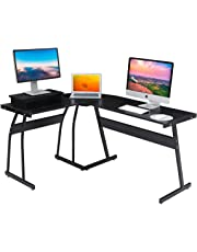 DOSLEEPS Computer Desk, L-Shaped Large Corner PC Laptop Study Table Workstation Gaming Desk for Home and Office - Free Monitor Stand - Wood & Metal