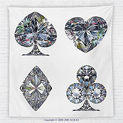 59 x 59 Inches Diamond Decor Fleece Throw Blanket Playing Cards Diamonds Hearts Clubs Spades Casino Theme Lucky Charm Art Graphic Design Blanket