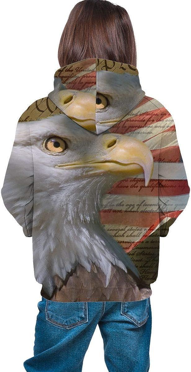 US Flag Bald Eagle Unisex Pullover Teens Hoodie Hooded Sweatshirt Colorful