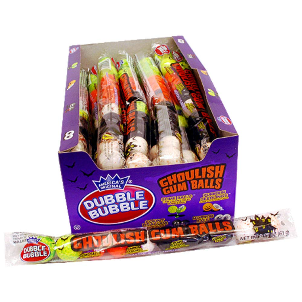 Dubble Bubble Halloween Ghoulish Gumballs - 10 Ball Tube (Case of 24) by Dubble Bubble