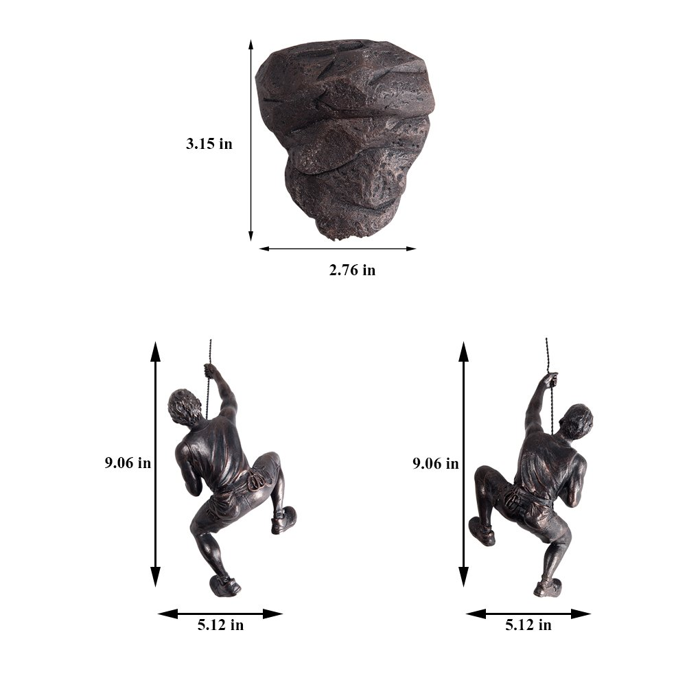 Olpchee American Vintage Resin Climbing Man Wall Sculpture Unique Hand-Finished Statue Figurine Office Home Art Decor Black Left Hand