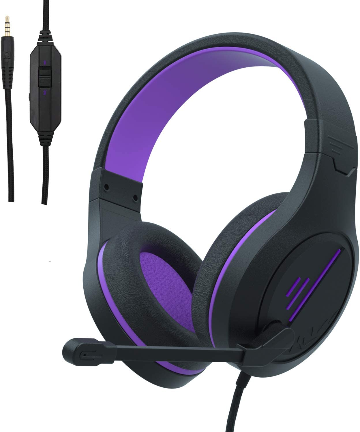 Gaming Headset for Xbox One PS5,PS4 Headset, PC Headphone with Noise Immunity Mic, Friction-Reduction Cable, High Comfort Earmuff-Camo,Over Ear Headphones for Xbox One Controller PC, PS4, Mac(Purple)