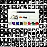 Glitter Tattoo Kit 22 - Princess And Super Hero 96 Girls And Boys Mini Stencils 8 Glitters Gems Glue