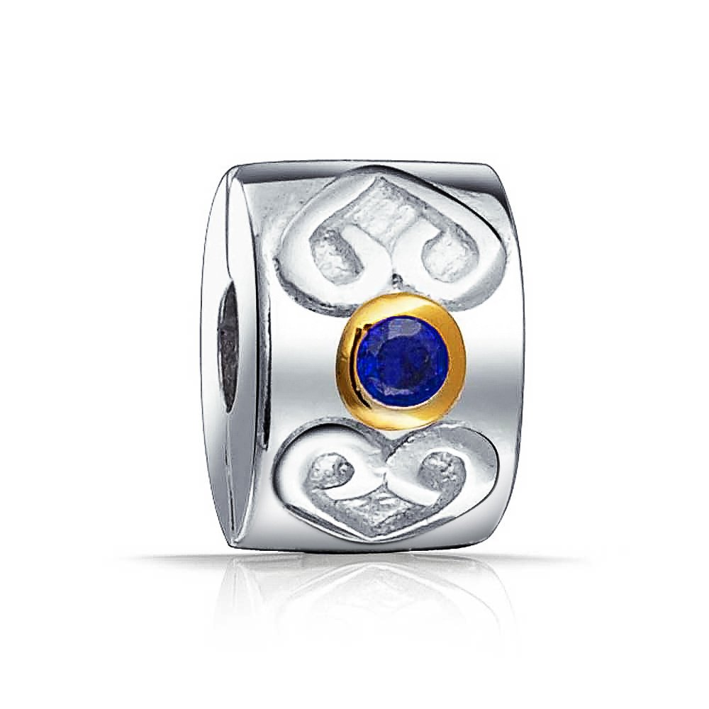 Bling Jewelry Celtic Heart Simulated Sapphire Clasp CZ Stopper Bead Charm .925 Sterling Silver PBX-HCL-41-blue-SH