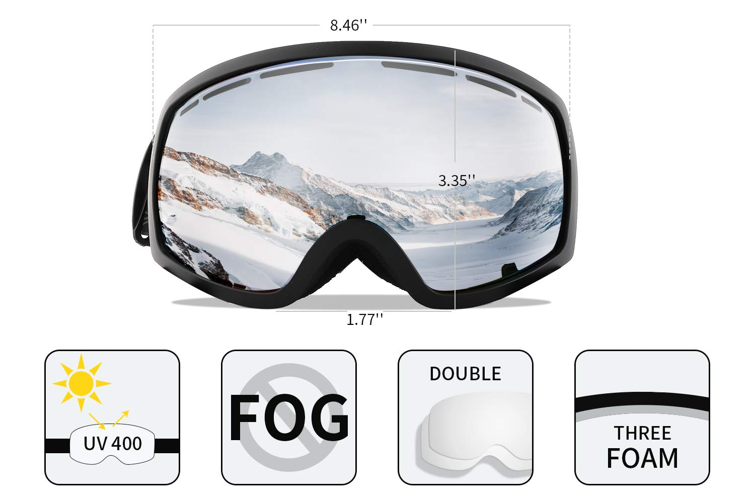 2b78c9f76ce Wantdo  Adult Ski  Goggle Snowboard Glasses Snowmobile Skate  Motorcycle  Riding Dual  Layers