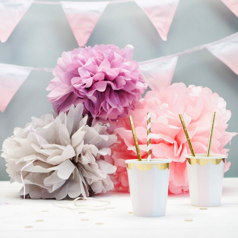 Dorado-Blanco KAEHA SUN-48-1105 Paper Poms Bola de Flores de Tejido para la Fiesta de cumplea/ños de la Boda