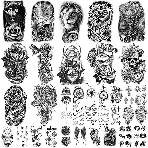 Yazhiji 36 Sheets Temporary Tattoos Stickers, 12 Sheets Fake Body Arm Chest Shoulder Tattoos for Men or Women with 24 Sheets Tiny Black Temporary Tattoos.