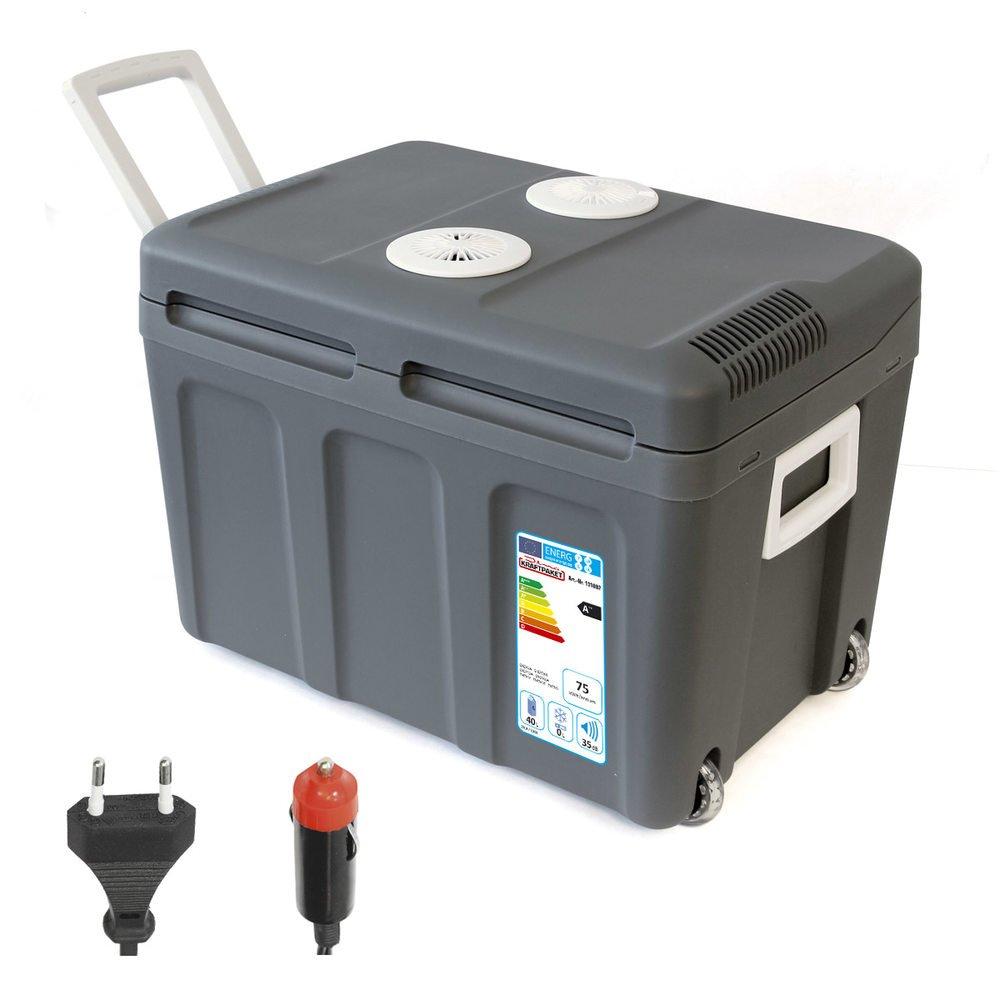 Dino KRAFTPAKET 40L Kühlbox 12V 230V (WÄRMT & KÜHLT) Elektrische Kühlbox Mini-Kühlschrank mit Rollen Thermoelektrische Thermobox Elektrokühlbox, A++, Eco-Modus