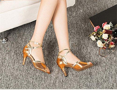 Taille danse amp; 36 latine de Adultes talons danse Color chaussures chaussures de sandales chaussures à danse de carré TMKOO fond de l'amitié Violet femmes Gold hauts de doux danse été chaussures fC4xqdwnS